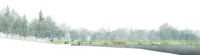 Schnittansicht Waldsee mit Wasserspielplatz M 1:200