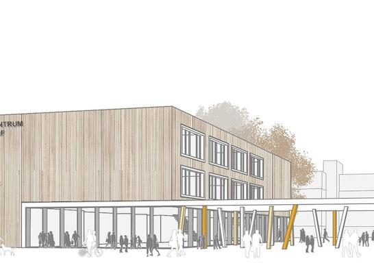 1. Preis: Mensa und Eingangsbereich, © Michel + Wolf  Architekten