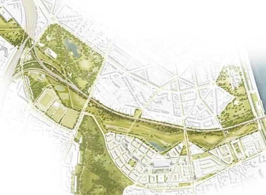 Gewinner - als Grundlage für die weitere Bearbeitung empfohlen: Gesamtkonzept, © RMP Stephan Lenzen Landschaftsarchitekten