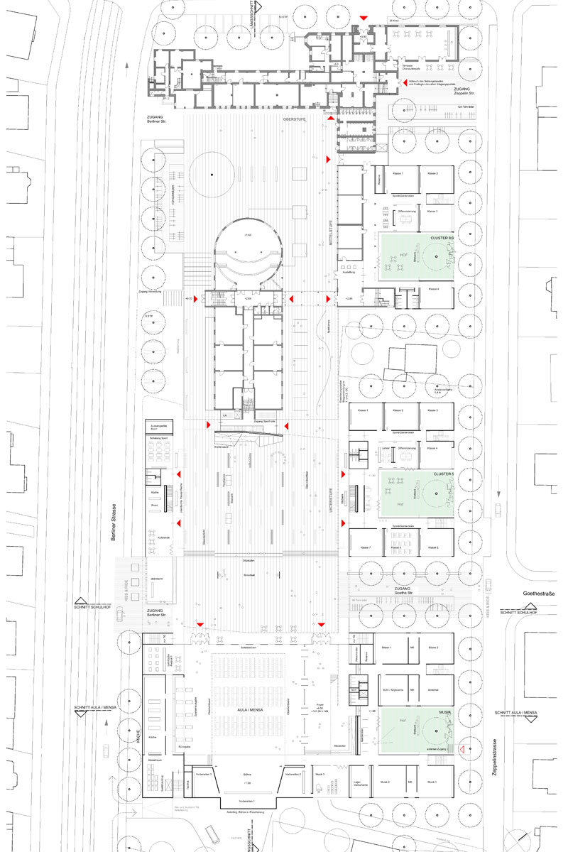 1st Prize Erweiterung Gymnasium und Neubau 3-Feld-Sp...competitionline