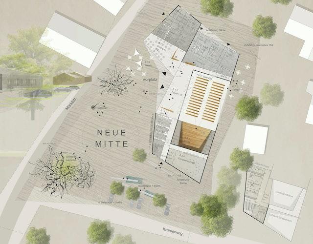 Neue Ortsmitte mit Veranstaltungssaal in Wertach Erdgeschossgrundriss dasch zürn + partner