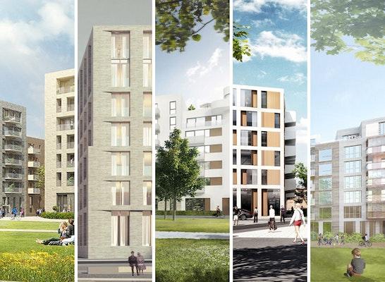 Engere Wahl: 5 Gewinner (v. l. n. r.): André Poitiers Architekt RIBA Stadtplaner; BE Baumschlager Eberle; BLK2 Böge Lindner K2 Architekten; PLANWERKEINS ARCHITEKTEN; czerner göttsch architekten architektur + stadtplanung