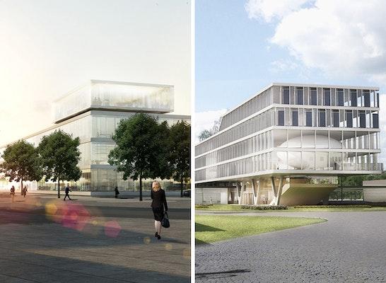 ein 1. Preis: Zwei 1. Preise ─ links: ingenhoven architects; rechts: HHS Planer + Architekten AG