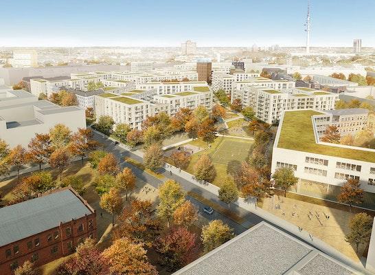 1. Preis: Parkübergang zwischen der Neuen-Mitte-Altona und dem Holsten-Areal, © André Poitiers Architekt Stadtplaner RIBA
