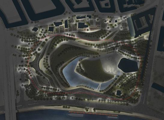 2nd prize category zaryadye park competitionline for Landscape lighting plan