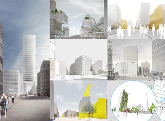 """7 Konzepte """"Zukunft Checkpoint Charlie"""" : David Chipperfield Architects / Hild und K / GRAFT / Sauerbruch Hutton / Cobe Berlin / J.MAYER.H / Caramel Architekten"""