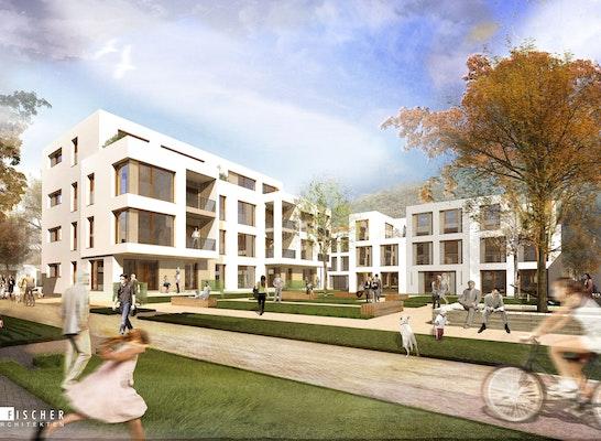 1st Prize Awarding of contract für drei von fünf Baufeldern: Perspektive Hof, © Fischer Architekten