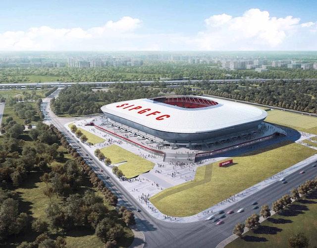 Vogelperspektive mit Haupt-Besucherzugang zur Pudong Soccer Arena.