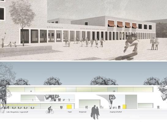 ein 1. Preis: Zwei 1. Preise - oben: Datscha Architekten mit KUULA Landschaftsarchitekten; unten: michael weindel & junior | architekten | gbr mit schreiberplan