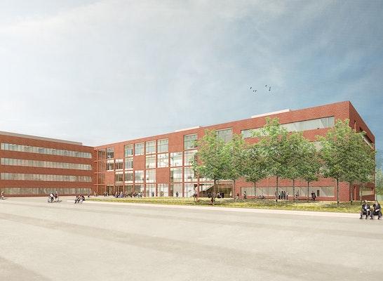 ein 1. Preis Zur Überarbeitung aufgefordert: Chemische Institute in Riedberg | Perspektive, © Gerber Architekten