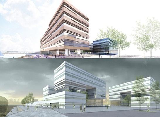 ein 1. Preis: Zwei 1. Preise: oben Delugan Meissl Associated Architects, Wien; unten Haslob Kruse + Partner, Bremen
