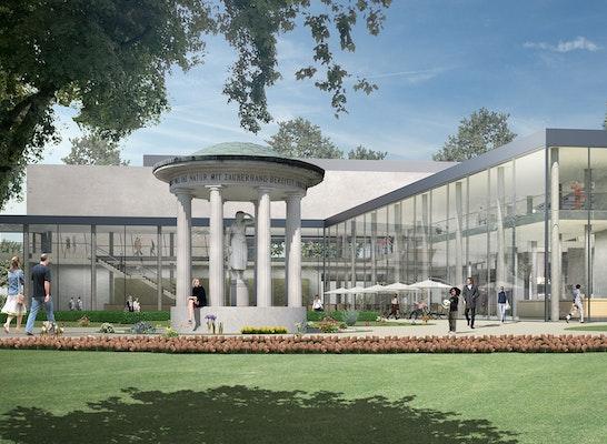 """1. Preis Auftrag: Blick auf die neue """"Orangerie"""" im Kurpark Bad Vilbel, © vielmo architekten"""