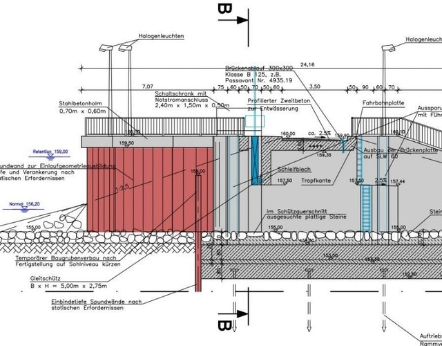 Schnitt durch Durchlassbauwerk K2.1 an der Engstelle Kappel