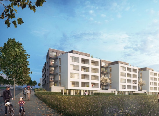 Gewinner: Altenhöferallee, Visualisierung Quartierseingang, © raumwerk Gesellschaft für Architektur und Stadtplanung mbH