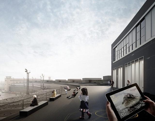 Geschichtsgalerie auf dem Dach des Flughafengebäudes Tempelhof