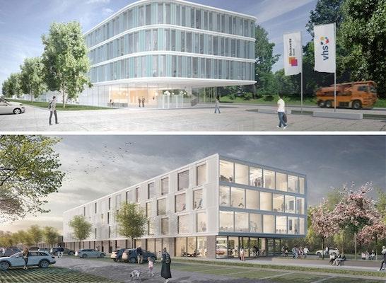 Die beiden ersten Preise: HASCHER JEHLE Architektur, Knippers Helbig Advanced Engineering (oben) // HPP Architekten GmbH, KRAFT.RAUM., DS-Plan Ingenieurgesellschaft für ganzheitliche Bauberatung und Generalfachplanung GmbH (unten)