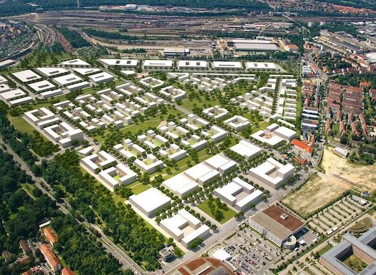 ein 2. Preis: Überflugperspektive, © ASTOC Architects and Planners, Köln
