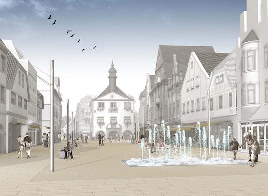 Marktplatz mit Kristallbrunnen