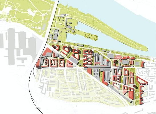 Teilnahme: Lageplan des gesamten Areals inkl. Mülheimer Hafen, © ksg