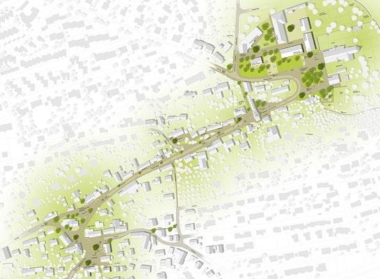 1. Preis: g2-Landschaftsarchitekten, Ortsmitte Oberelchingen - Gesamtplan