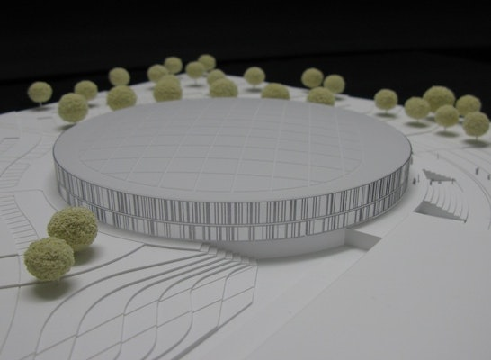 Zuschlag: Plexiglas 3D gefräst, lasergravierte Fassade eingefärbt, Edelstahlmenschen