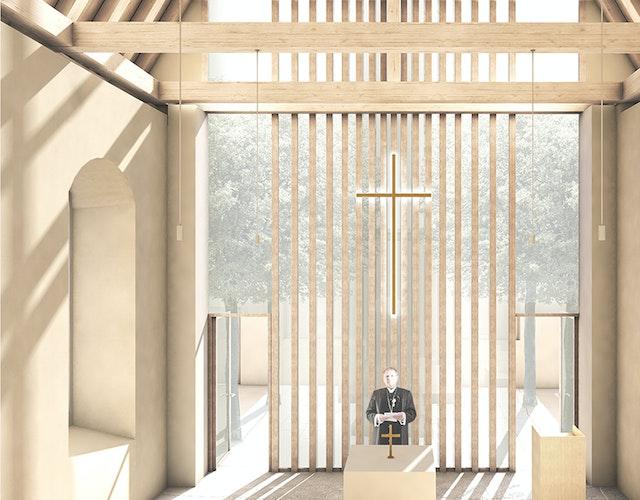 Neubau der Kirche in der Ruine Kirche Canitz