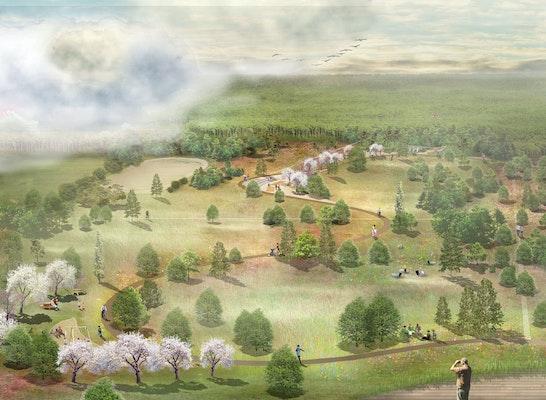 Blick über den Park von Nord nach Süd