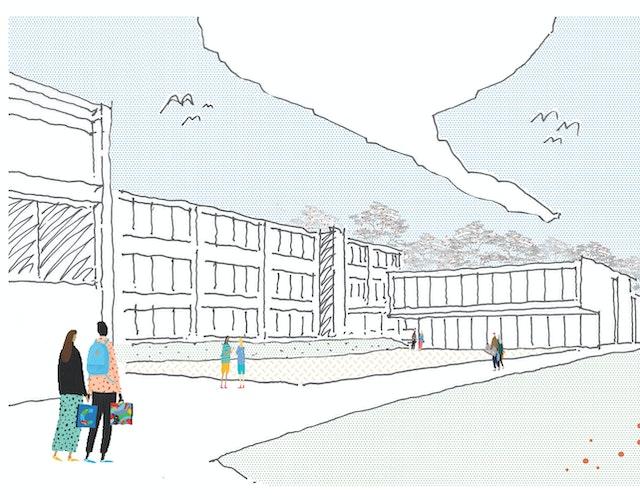 Neubau Mensa Körschtalschule und Paracelsus-Gymnasium Hohenheim in Stuttgart - Vergabe von Leistungen für die Gebäudeplanung nach HOAI 2013 Teil 3 Abschnitt 1, §34 Architektenleistungen, LPH 1-9