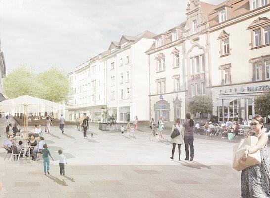 1. Preis Zuschlag: Perspektivische Darstellung Lindenplatz, © faktorgruen