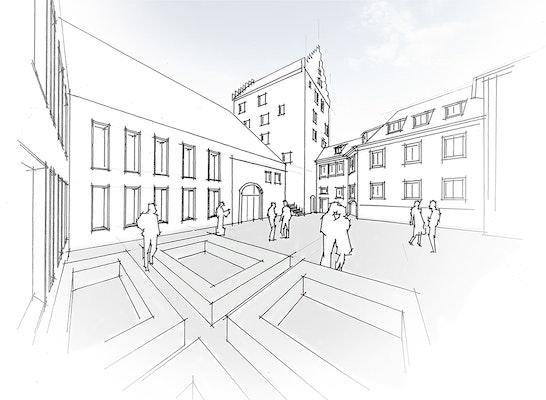 1. Preis: Neubau im historischen Ensemble, © Braunger Wörtz Architekten, silands | Gresz + Kaiser Landschaftsarchitekten PartG mbB