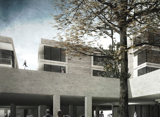 1. Preis: Das Stadthaus neu gedacht - Eine Symbiose von Parken und Wohnen, © Clara Kern, Jana Thalmann / TU Braunschweig
