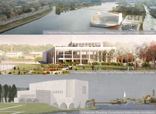 Gewinner: Die drei Finalisten: Paleko archstudija + UAB Baltic Engineers (oben) // Feilden Clegg Bradley Studios (mitte) // Adam Khan Architects (unten)