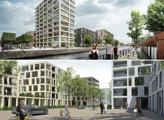 ein 1. Preis: Zwei 1. Preise: oben - André Poitiers Architekt RIBA Stadtplaner; unten - Baumschlager Hutter Partners, p.arc