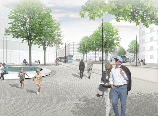 1. Preis: Blick über den neuen Theodor-Heuss-Platz, © bbz landschaftsarchitekten | OBERMAYER Planen+Beraten
