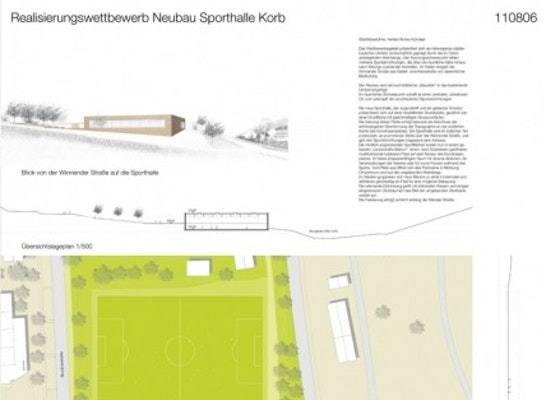 3 preis neubau sporthalle in korb competitionline for Korb architekten