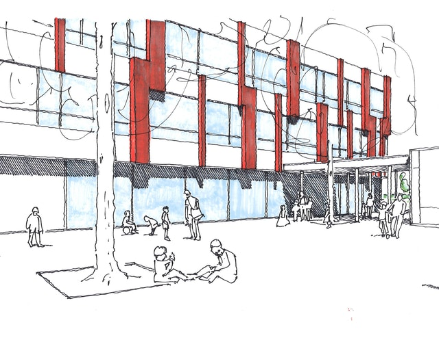 Skizze Innenhof | Anbindung Bestand an Neubau