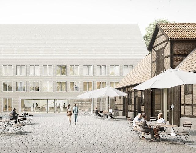 Perspektive Bürgerplatz vor dem Erweiterungsbau Rathaus Springe
