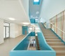 Die zentral angeordnete Treppe lenkt als blaues Band in die oberen Geschosse.