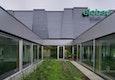 elobau Produktionshalle - Patio, grünes Zimmer zwischen Foyer und Personalraum