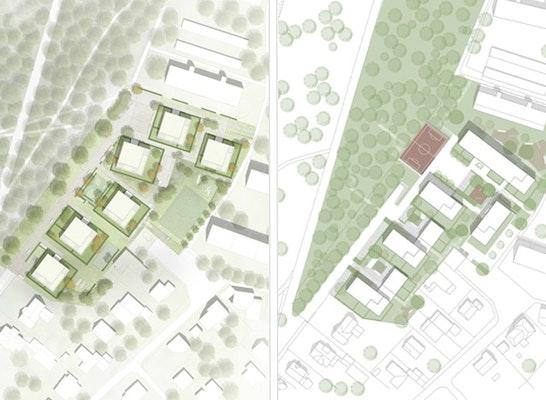 ein 1. Preis: Die beiden ersten Preise: Gerber Architekten (links) // Abdelkader Architekten BDA + frei[RAUM]planung Uwe Gernemann (rechts)