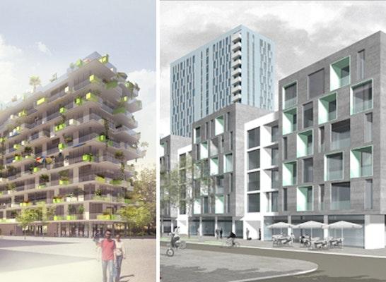 Preisgruppe: Zwei Entwürfe Aus Der Preisgruppe Mit Drei Gleichrangigen  Preisträgern   Links: Querkraft Architekten