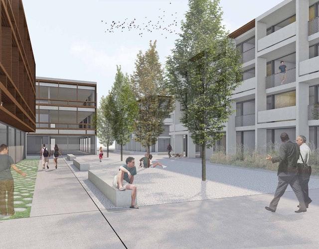 Neubau von Geschäfts- und Wohngebäuden