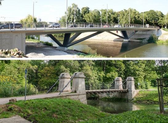 Deutscher Brückenbaupreis 2018 - KATEGORIE STRASSEN- UND EISENBAHNBRÜCKE: Zwei Brückenbaupreise 2018: Bleichinselbrücke Heilbronn / Schaukelbrücke im Park an der Ilm