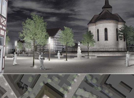 Blick Lange Strasse mit Friedensplatz (Richtung Kirchhof)           -----------------------------------------------------  Entwurf_Nachtplan (Oms. 1:200)