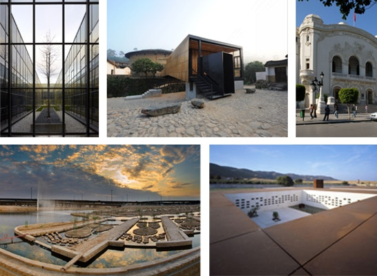 Prize: 5 Preise: Madinat al-Zahra Museum and Research Centre, Wadi Hanifa Wetlands, Revitalisation of the Recent Heritage of Tunis, Ipekyol Textile Factory, Bridge School