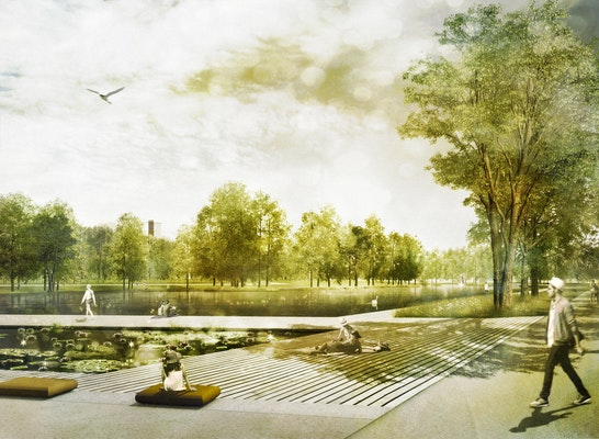 1. Preis: Aueweiher mit Seeuferplatz und Wassergarten, © A24 Landschaft + Visuz Mario Zander