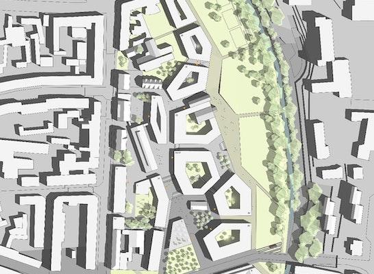 Campus Nord und neuen Park entlang der Ahna
