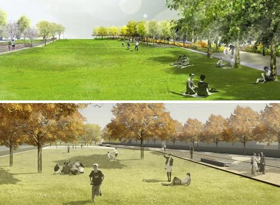 ein 1. Preis: oben ein 1. Preis: POLA Landschaftsarchitekten, Berlin (DE);  unten ein 1. Preis: Weidinger Landschaftsarchitekten, Berlin (DE)