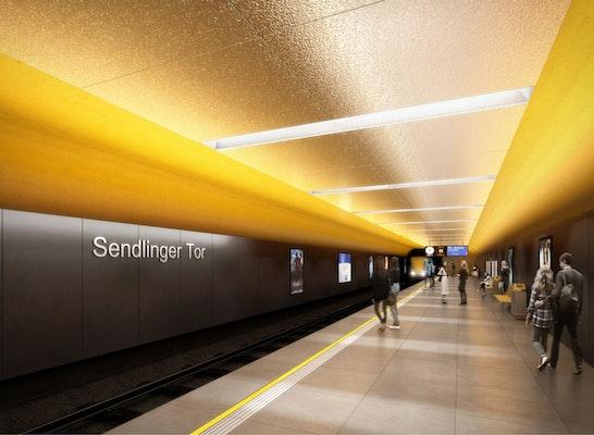 Ebene 3, Bahnsteig der U-Bahnlinien U1 und U2,  OBERMEYER Planen + Beraten und Day & Light Lichtplanung GbR