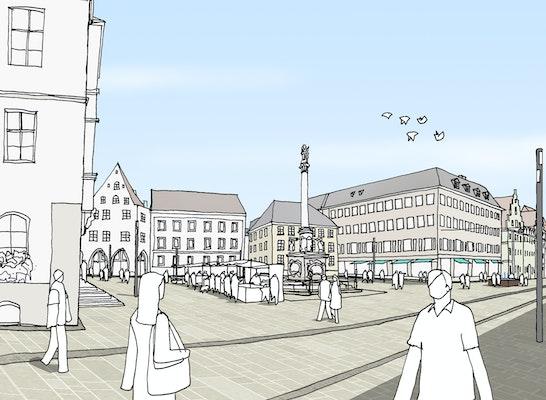 Perspektive Marienplatz / Anerkennung Stadteingänge // GTL Gnüchtel Triebswetter Landschaftsarchitekten, Kassel und ATELIER 30 Architekten GmbH - Fischer, Creutzig, Kassel